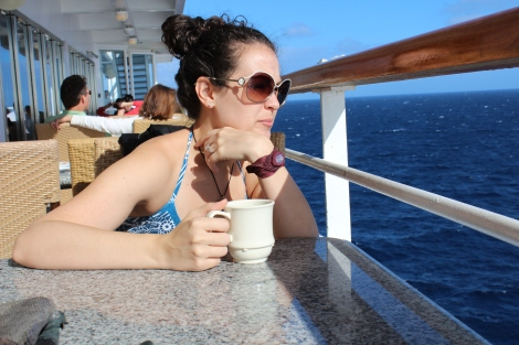 Jenna contemplating life as we pull into port in the Bahamas.