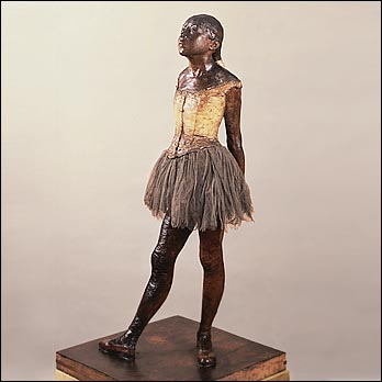 Degas's Little Dancer was the first time an artist had incorporated real materials into a sculpture. Many of his paintings and sketches focuses on French Ballerinas.