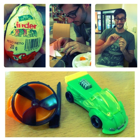 While getting some lunch for us, I picked up some kindereggs (jealous america?) I got a snazzy green car and Jesse got a helicopter blade that flies into the air when you pull the tab.