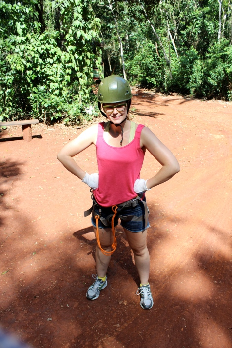 Ready to go on my first ziplining experience.