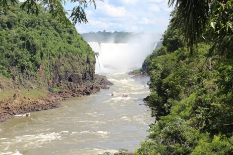 On the left is Brazil and the waterfalls ahead are part of the Garganta del Diablo. We don't have a picture of it, because we didn't want to ruin our oh so beautiful camera, but we took one of those boats through close up to the waterfalls and into the spray from the base of a couple others.