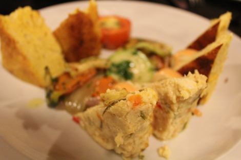 This was an appetizer with some argentine and paraguayan delights. This one in focus is my favorite. Its a quiche type thing with crab and I think artichoke. so delicious.